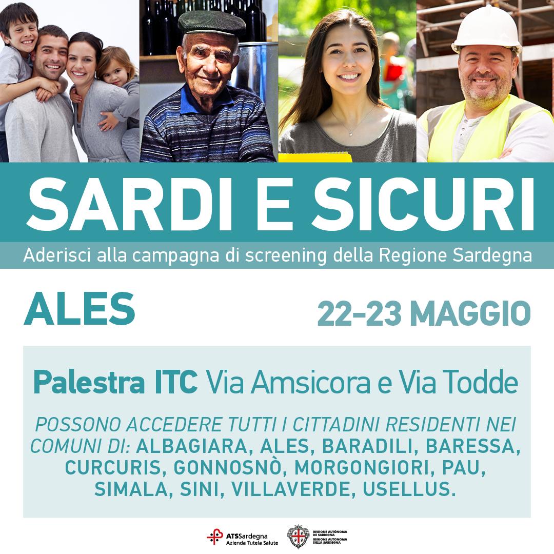 Sardi e Sicuri, il 22 e 23 maggio la campagna di screening arriva in provincia di Oristano